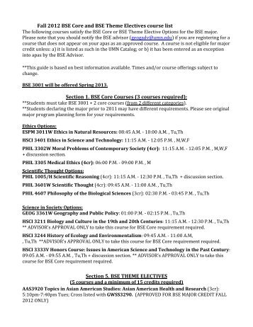 Fall 2012 BSE Core and BSE Theme Electives course list