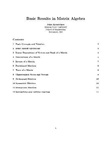 Matrix Algebra - Morgan State University