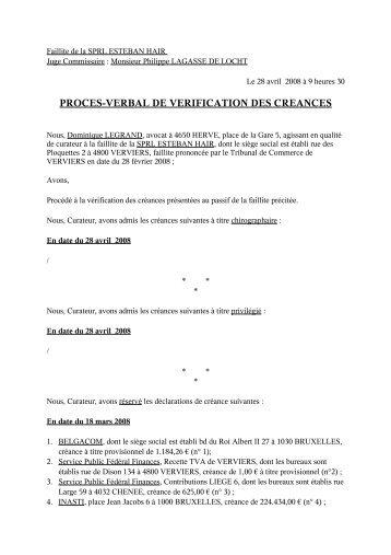 PROCES-VERBAL DE VERIFICATION DES CREANCES - Juridat