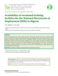 Availability of vocational training facilities for the National Directorate ...