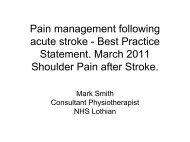 Pain management following acute stroke - Best Practice Statement ...
