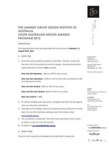 entry form - Design Institute of Australia