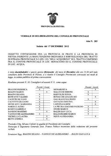 VERBALE DI DELIBERAZIONE DEL CONSIGLIO PROVINCIALE ...