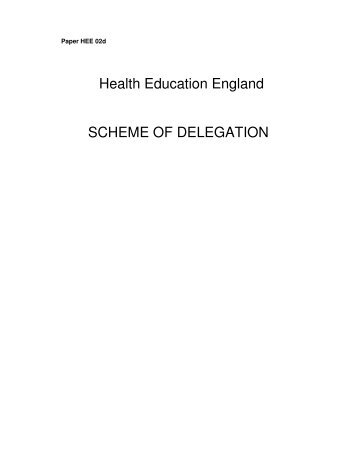 Health Education England SCHEME OF DELEGATION