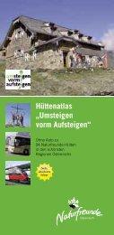 """Hüttenatlas """"Umsteigen vorm Aufsteigen"""" - Naturfreunde"""