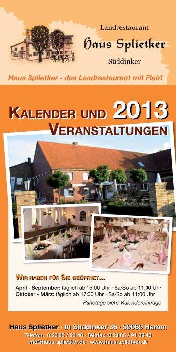 Unser Veranstaltungs- kalender 2013 PDF ... - Haus Splietker