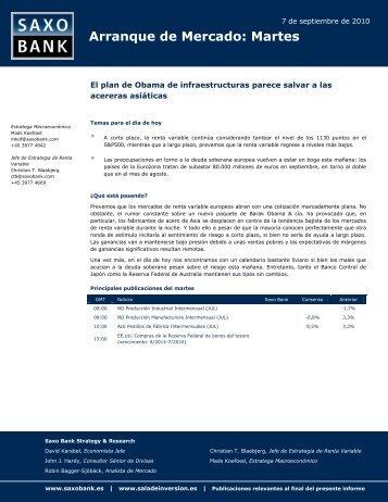 Arranque de Mercado: Martes - Sala de Inversión