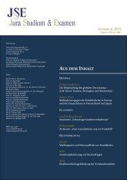 AUS DEM INHALT - Zeitschrift Jura Studium & Examen