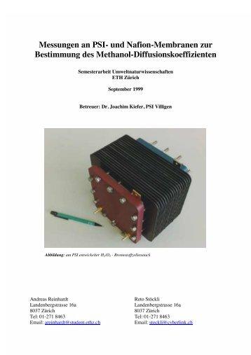 Messungen an PSI- und Nafion-Membranen zur Bestimmung des ...