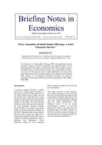 Three Anomalies of Initial Public Offerings: A brief Literature Review