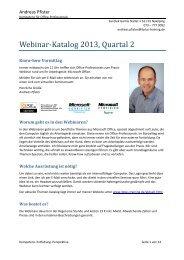 Webinar-Katalog 2013, Quartal 2 - Seminare für Office-Professionals