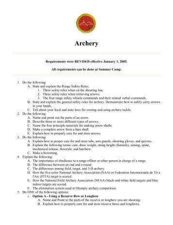 Archery Focus Area Skills Checklist