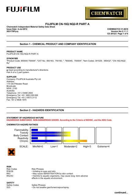 Chemwatch Australian MSDS 31-6618 - FUJIFILM Australia