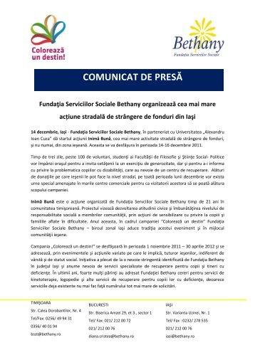 COMUNICAT DE PRESĂ - Fundatia Serviciilor Sociale Bethany