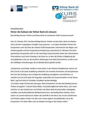 Berufskolleg Deutzer Freiheit und Kölner Bank eG vereinbaren ...