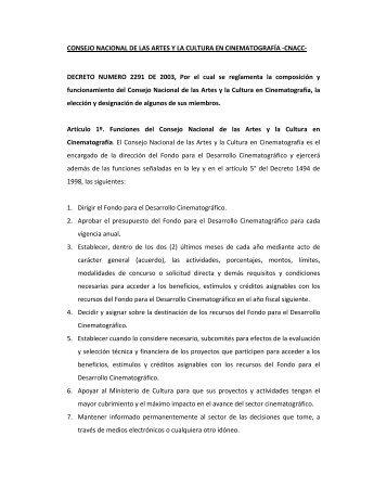 CONSEJO NACIONAL DE LAS ARTES Y LA CULTURA EN ...