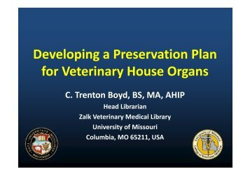 Developing a Preservation Plan for Veterinary House Organs - APDIS