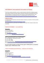 FACTSHEET: International Universities in Vienna:
