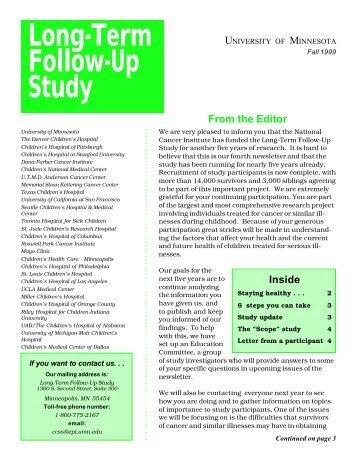 h:\ccss newsletter, etc\fall99. - Childhood Cancer Survivor Study