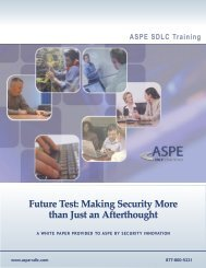 Future Test: Making Security More than Just an Afterthought - ASPE