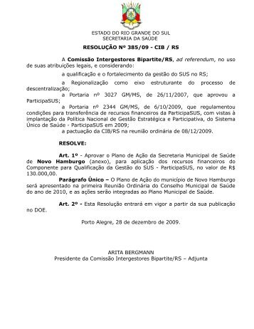 resolução nº xxx/09 - cib / rs - Secretaria Estadual da Saúde do Rio ...