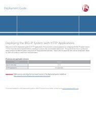 Deploying the BIG-IP System v11 with HTTP applications