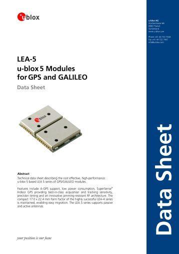 LEA-5 u-blox5 Modules forGPS and GALILEO