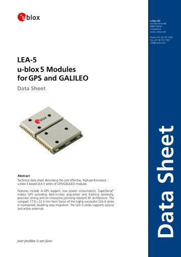 LEA-5 u-blox5 Modules forGPS and GALILEO