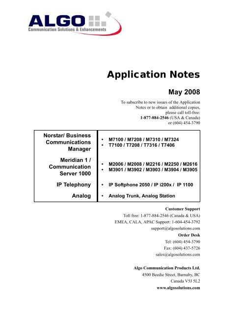 Algo Application Notes for Nortel Norstar, BCM, CS 1000