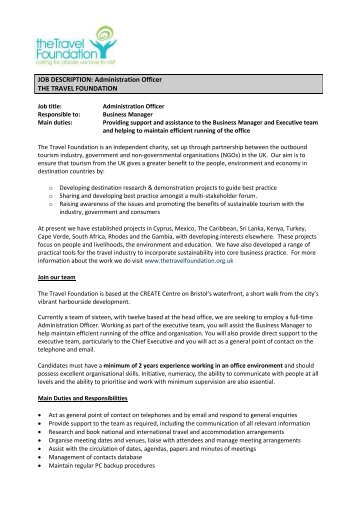 travel officer job description