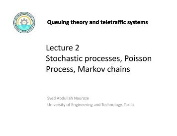 Lecture 2 Stochastic processes, Poisson Process, Markov chains ...