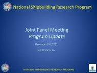 Joint Panel Meeting Program Update - NSRP