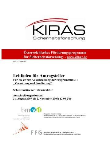 Leitfaden für Antragsteller - KIRAS Sicherheitsforschung