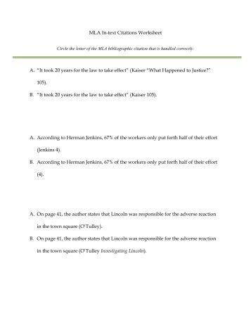 Online Writing Lab & mla citation worksheet practice