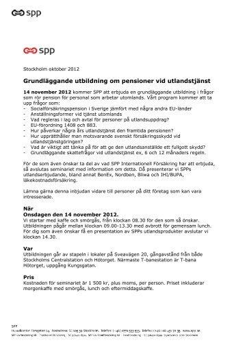 Grundläggande utbildning om pensioner vid utlandstjänst - SPP