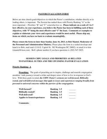 Pastor Evaluation Form. Pastor Evaluation Process - Vision ...