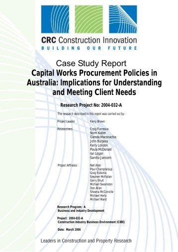 Capital works procurement policies in Australia - Construction ...