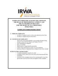 Ethics Complaint Form - International Right of Way Association