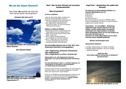 Wo ist der blaue Himmel 29.07.13 - Chemtrail.de