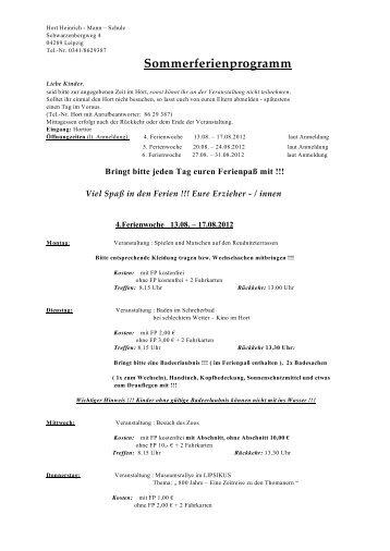 Sommerferienprogramm - Heinrich-Mann-Grundschule