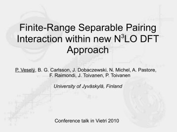 Finite-Range Separable Pairing Interaction within new N3LO DFT ...