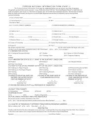 FOREIGN NATIONAL INFORMATION FORM (PAGE 1)