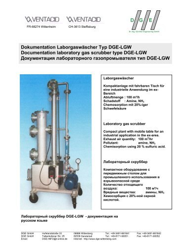 Dokumentation Laborgaswäscher Typ DGE-LGW Documentation ...