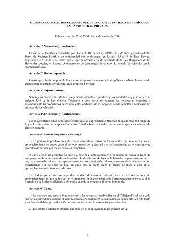 1 ORDENANZA FISCAL REGULADORA DE LA TASA POR LA ...