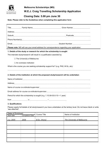 Application Form - Student Services - University of Melbourne