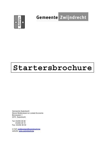 Startersbrochure - Gemeente Zwijndrecht