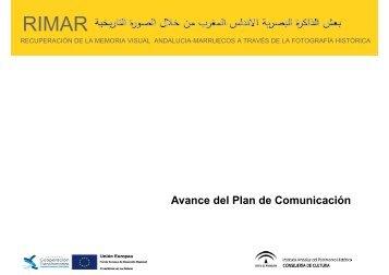 Avance del Plan de Comunicación - Proyecto RIMAR