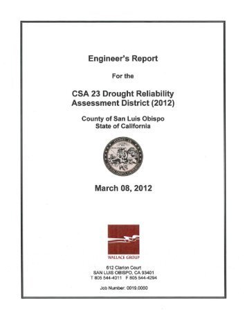 Engineer's Report for the CSA 23 Drought Reliability Assessment ...