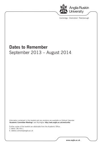 Dates to Remember September 2013 – August 2014 - My.Anglia ...
