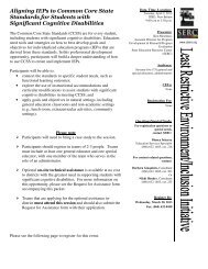 Aligning IEPs to Common Core State Standards for Students with ...